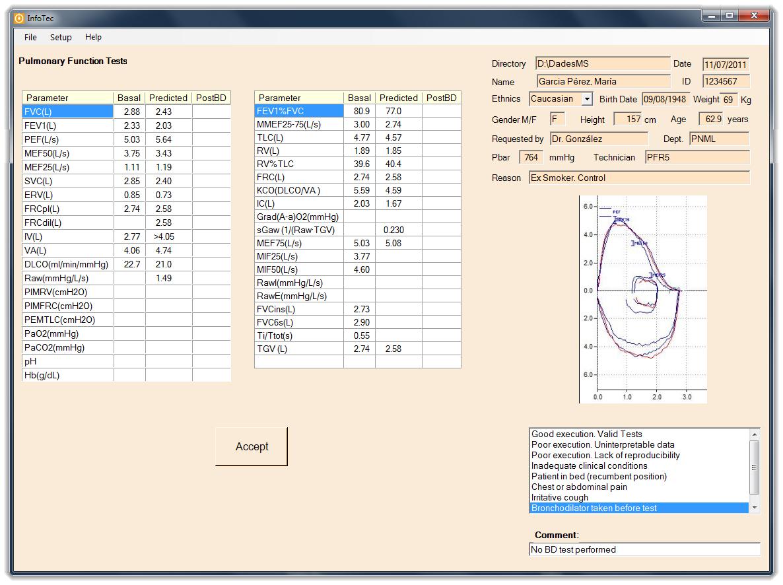 Figure 2: Main screen Info PFtec
